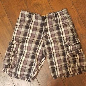 Lee Dungarees plaid cargo short black Z219:5:619